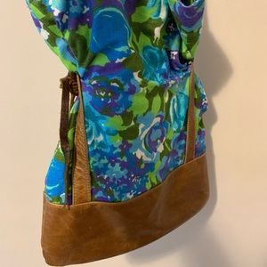 Vivid floral leather bag! Upcycled materials!